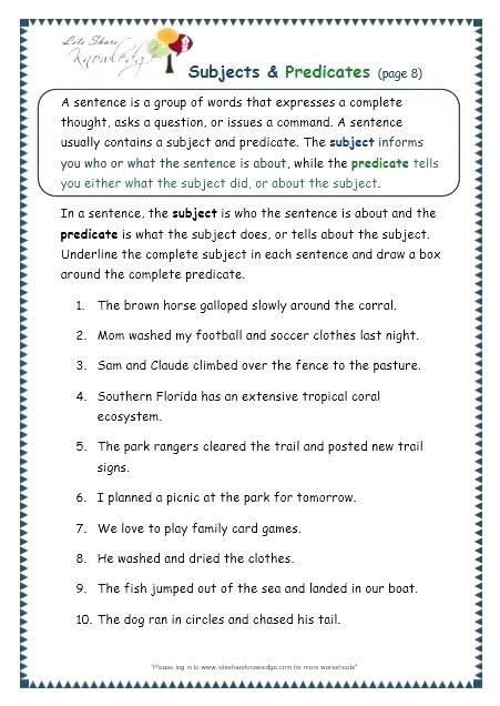Subject Predicate Worksheet 2nd Grade Worksheet Free Printable Worksheets for Grade Subjects and