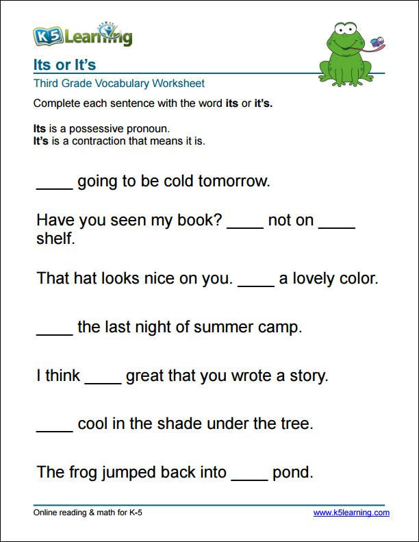 Subject Worksheets 3rd Grade 3rd Grade It S or Its Worksheet