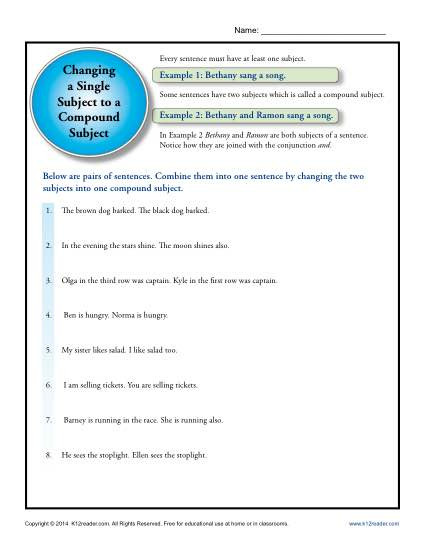 Subject Worksheets 3rd Grade Single Subject to A Pound Subject