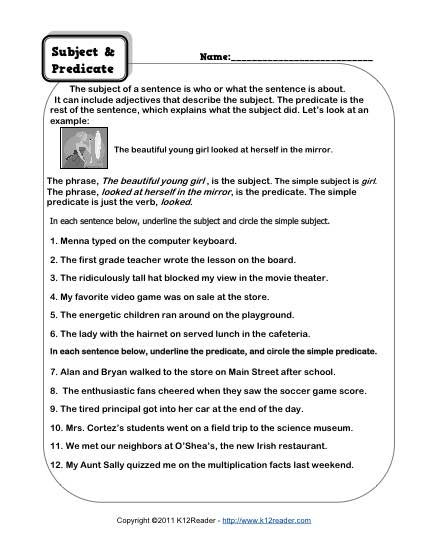 Subject Worksheets 3rd Grade Subject and Predicate Worksheets