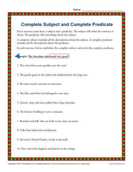 Subject Worksheets 3rd Grade Subject Predicate Worksheets 3rd Grade