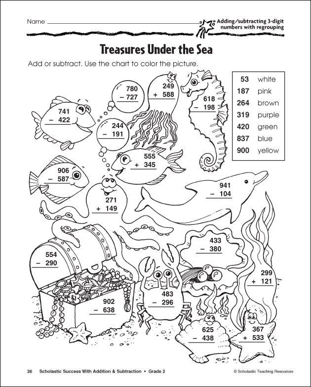 Subtraction Coloring Worksheets 2nd Grade Subtraction with Regrouping Coloring Pages