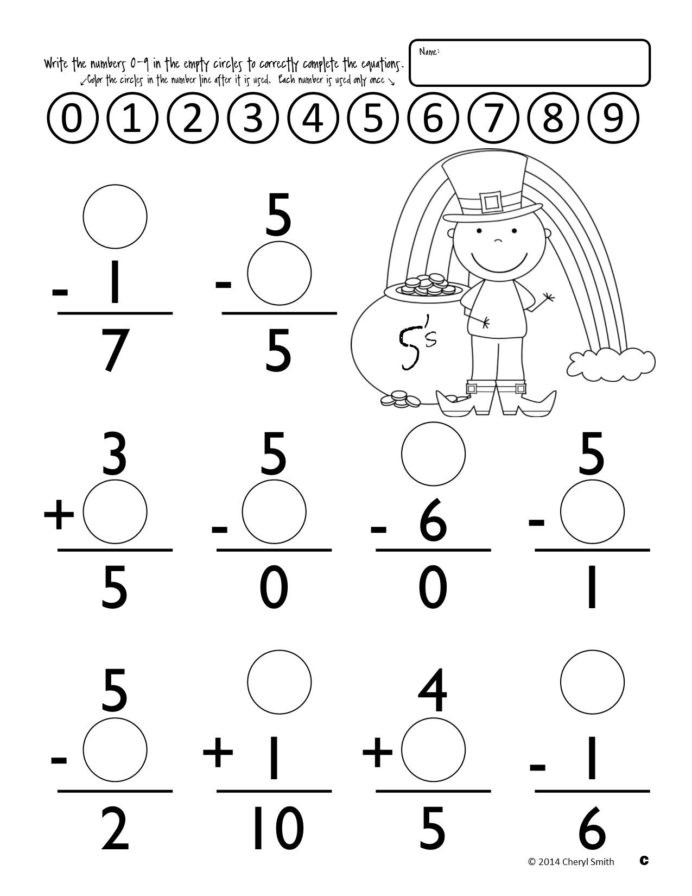 Subtraction Worksheet for 1st Grade Math Facts St Easter Addition and Subtraction Multiplication