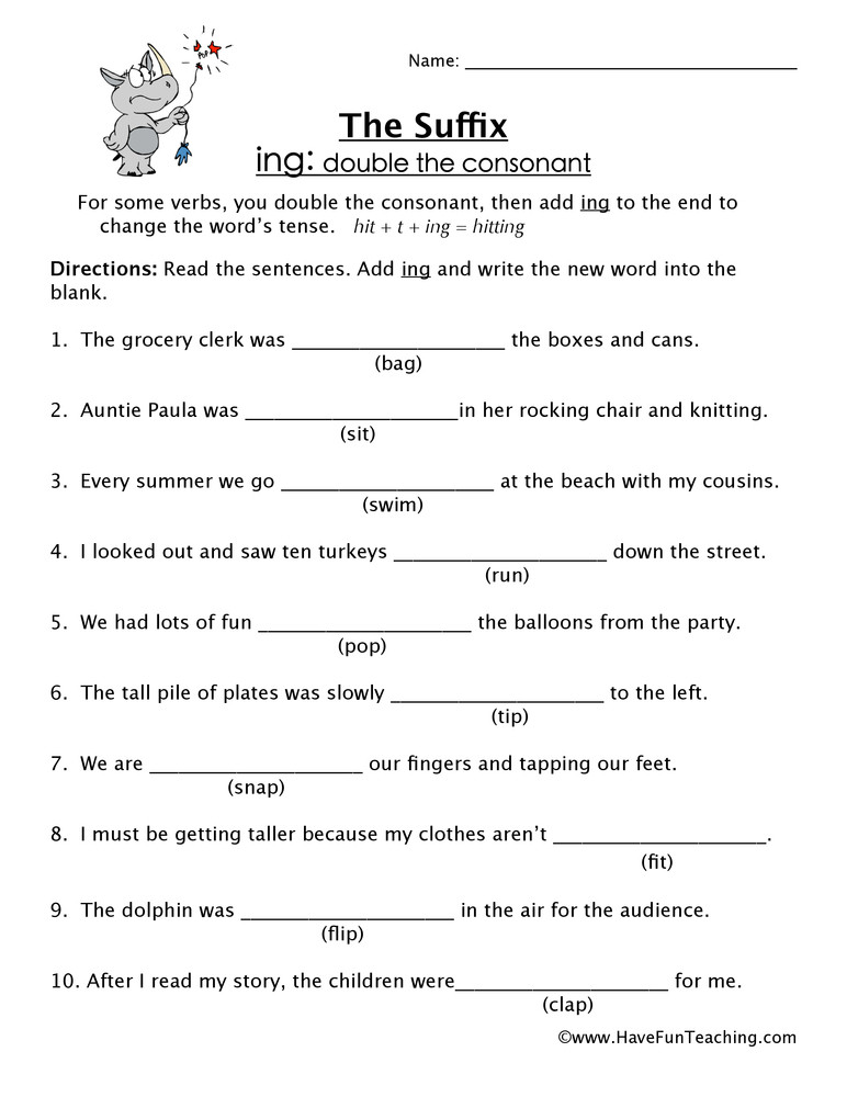 Suffix Worksheets for 4th Grade Adding Ing Suffix Worksheet