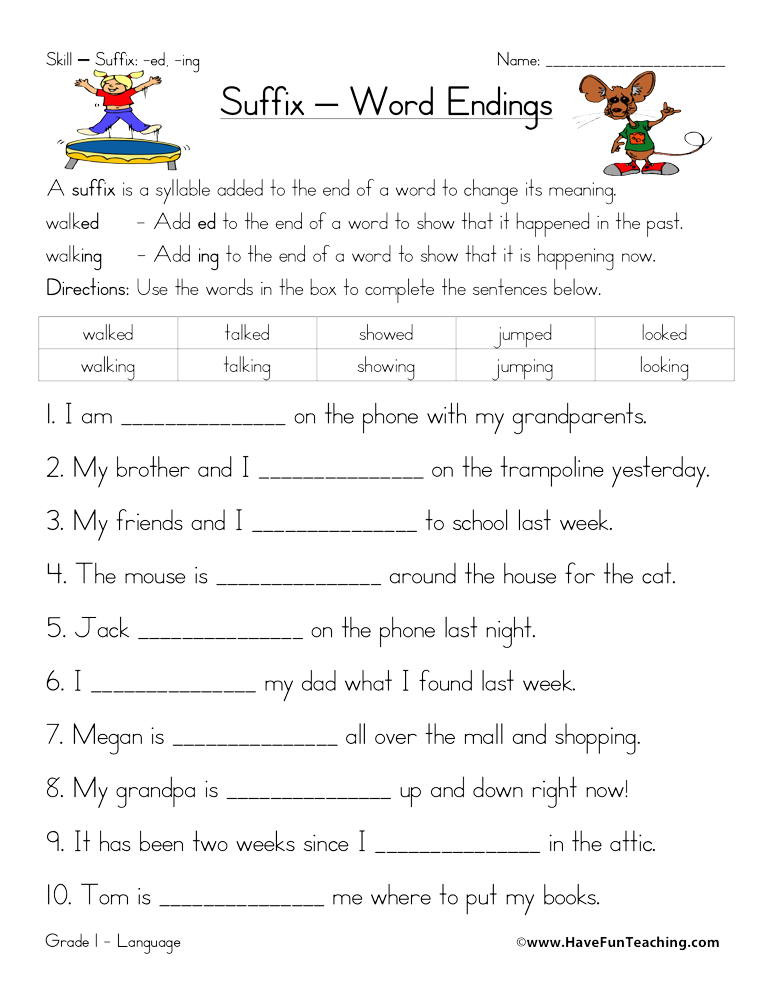 Suffix Worksheets for 4th Grade Suffix Ed and Ing Worksheet