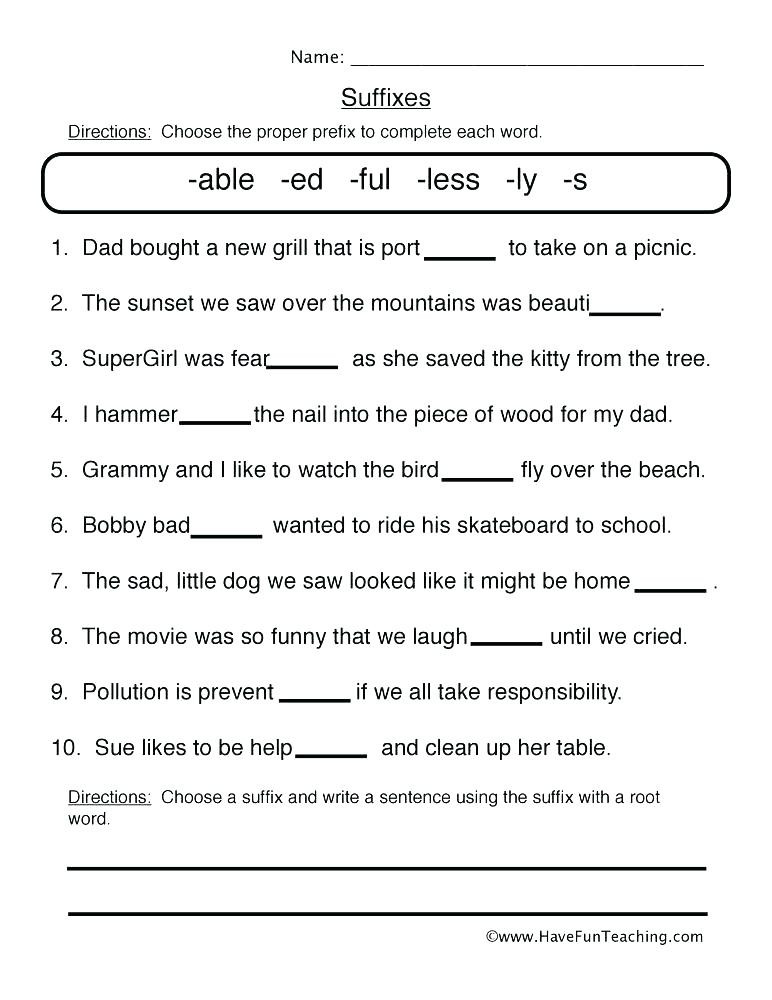 Suffixes Worksheets for 2nd Grade 3rd Grade Prefixes and Suffixes Worksheets Root Words