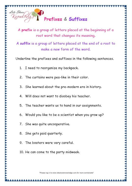 Suffixes Worksheets for 3rd Grade Grade 3 Grammar topic 21 Prefix and Suffix Worksheets