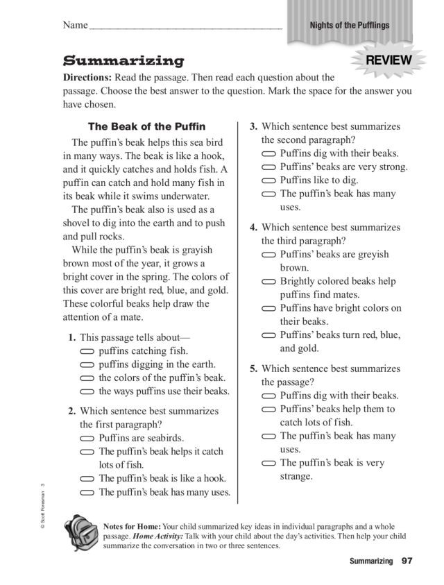 """Summary Worksheets 2nd Grade Summarizing """"night Of the Pufflings"""" Worksheet for 2nd"""