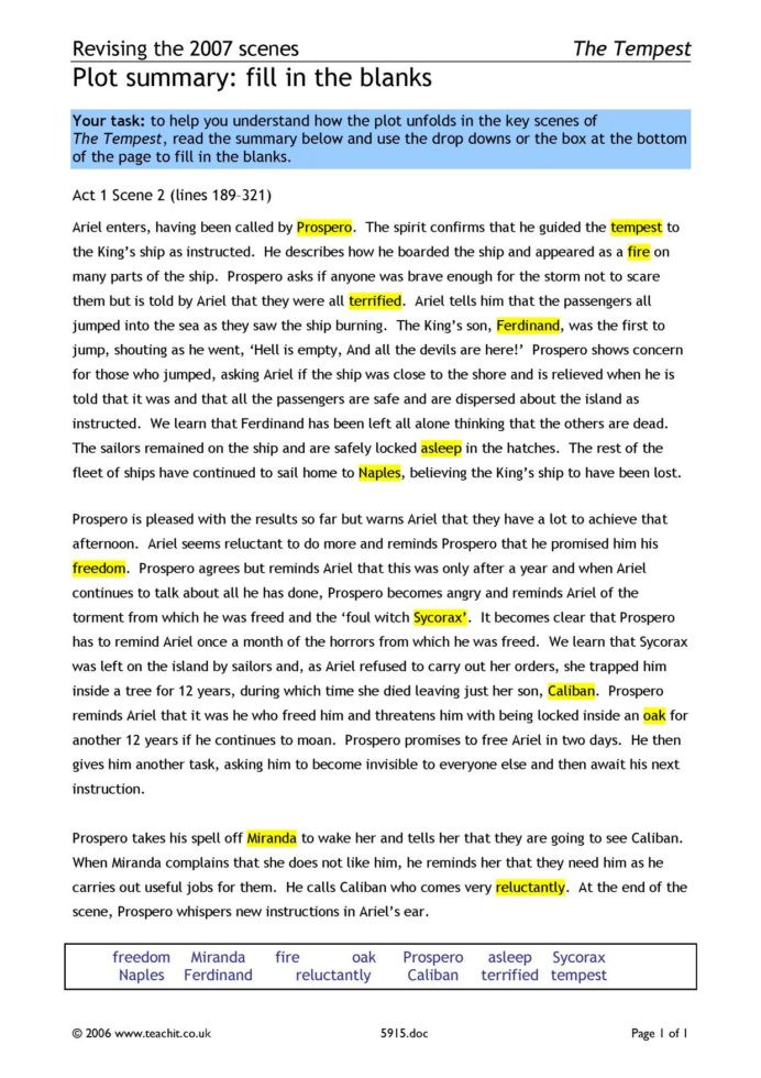 Summary Worksheets 5th Grade Ks3 Plays the Tempest Act Teachit English Worksheets X5996