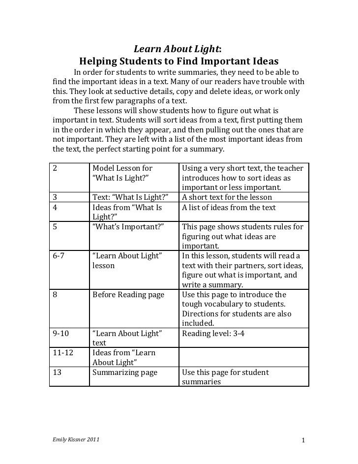 Summary Worksheets 5th Grade Lesson for Teaching Nonfiction Summarizing