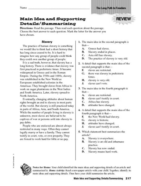 Summary Worksheets 5th Grade Main Idea Lessons Tes Teach Worksheets for 5th Graders