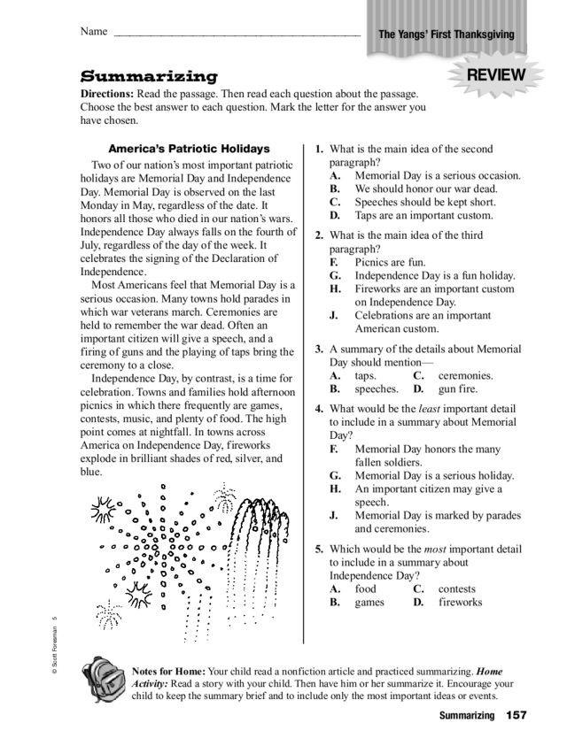 Summary Worksheets 5th Grade Summarizing the Yang S First Thanksgiving Worksheet for 4th