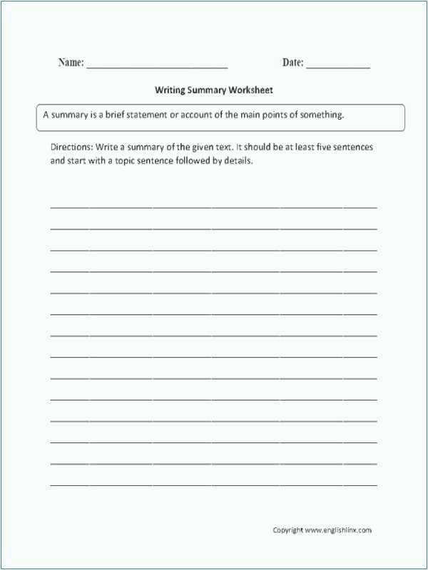 Summary Worksheets 5th Grade Summarizing Worksheets 2nd Grade Free Printable