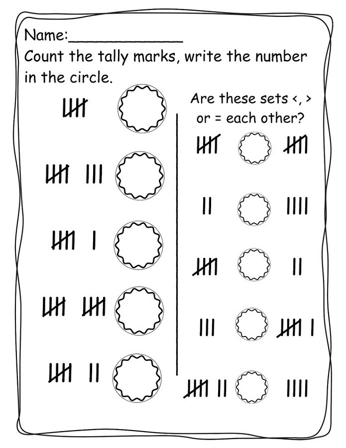 Tally Mark Worksheets for Kindergarten Tally Mark Worksheets to Print