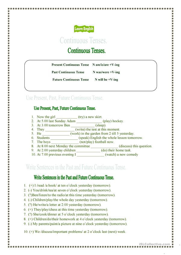 Tenses Worksheets for Grade 5 Present Past and Future Continuous Tenses English Esl