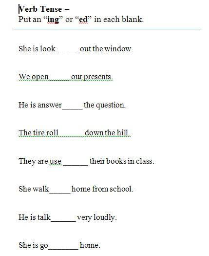 Tenses Worksheets for Grade 5 Verbs and Verb Tense