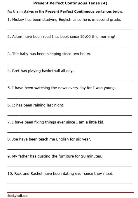 Tenses Worksheets for Grade 6 Esl Grammar Present Perfect Continuous Tense Error
