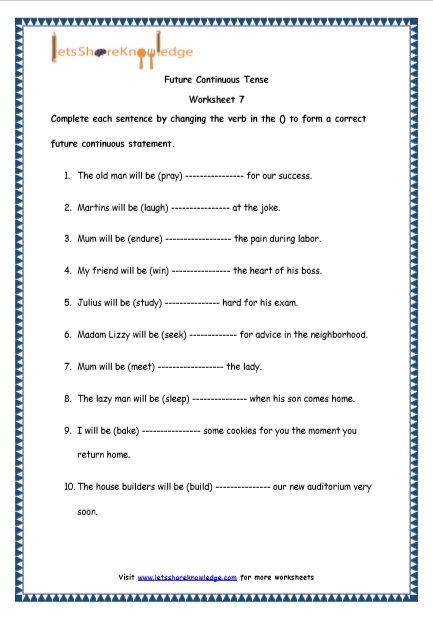 Tenses Worksheets for Grade 6 Grade 4 English Resources Printable Worksheets topic Future