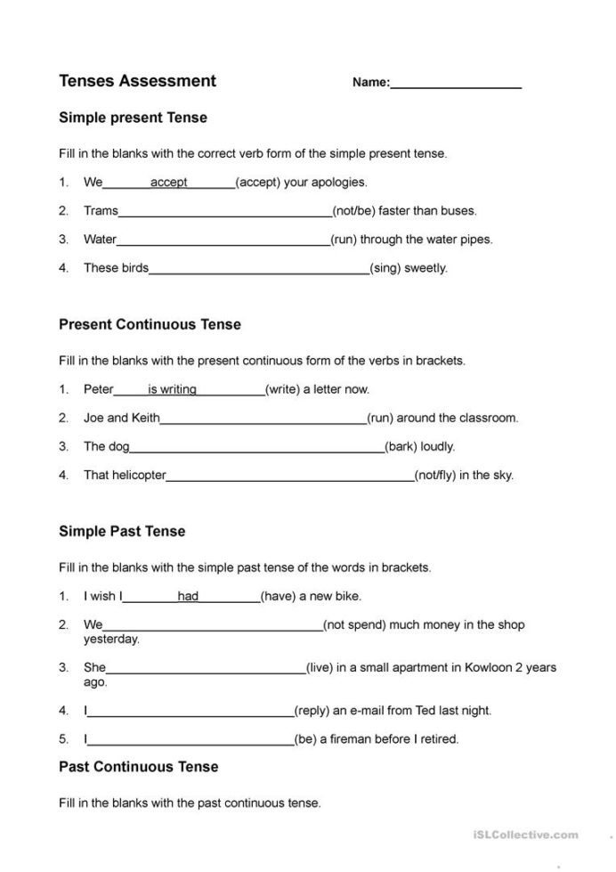 Tenses Worksheets for Grade 6 Present Past and Future Tenses English Esl Worksheets for