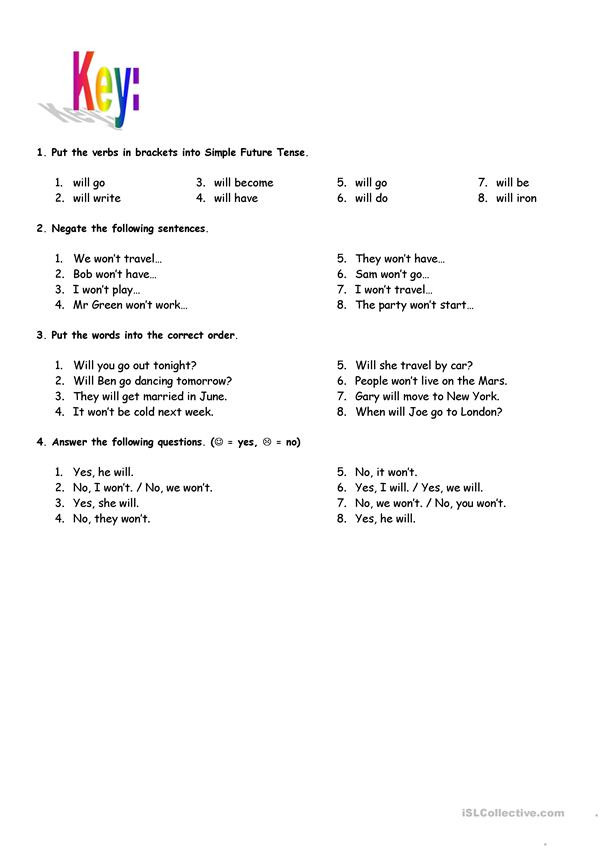 Tenses Worksheets for Grade 6 Simple Future Tense with Key English Esl Worksheets for