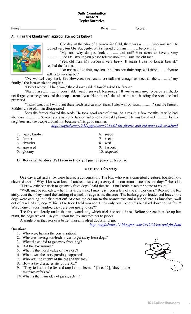 Text Structure 4th Grade Worksheets Narrative Text Exercise 1 English Esl Worksheets for