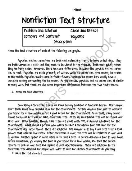 Text Structure 4th Grade Worksheets Nonfiction Text Structure Worksheet