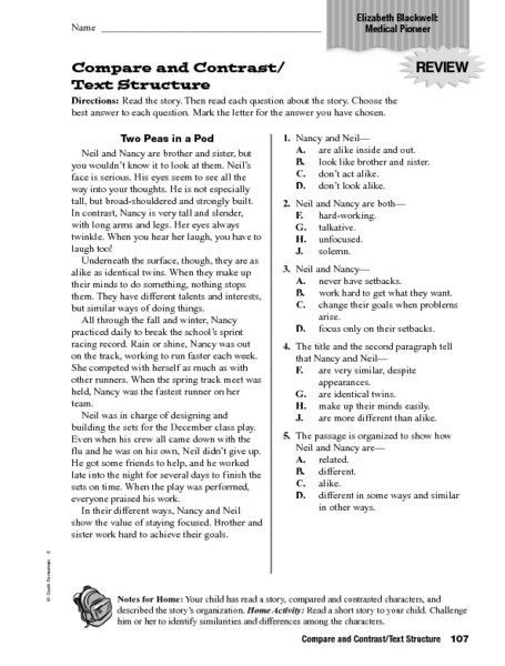Text Structure 4th Grade Worksheets Pare and Contrast Text Structure Worksheet for 4th 6th