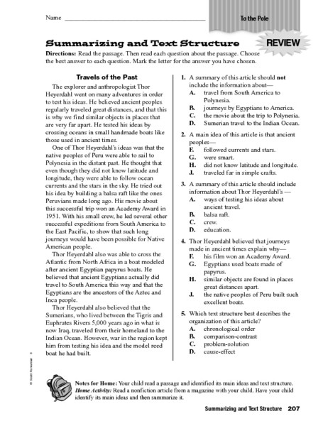 Text Structure 4th Grade Worksheets Summarizing and Text Structure Worksheet for 4th 6th Grade