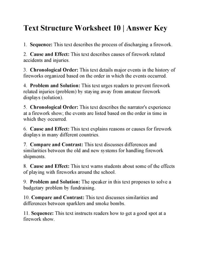Text Structure Worksheets Grade 4 Text Structure Worksheet Answers Ereading Worksheets solve