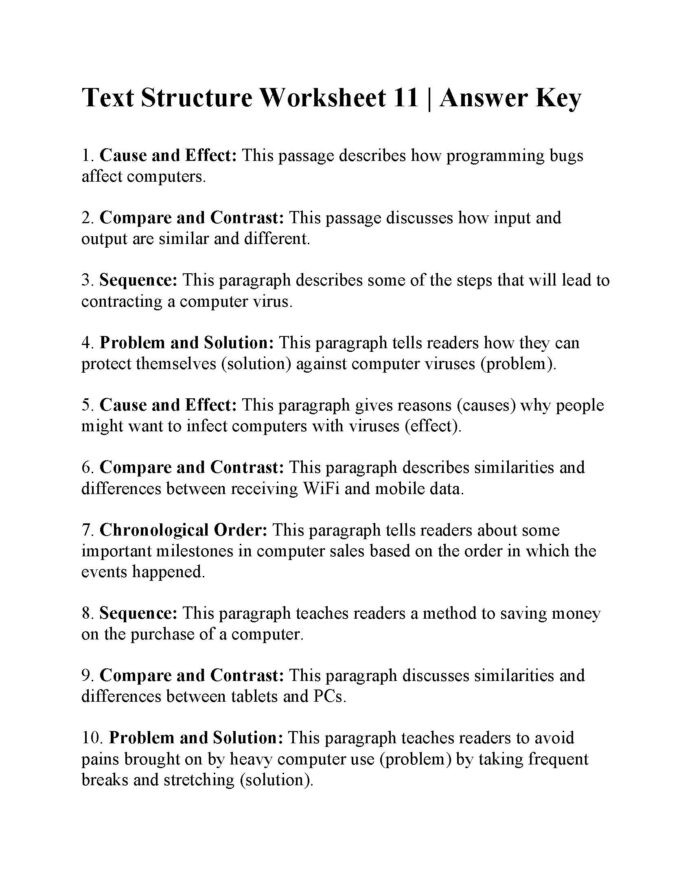 Text Structure Worksheets Grade 4 Text Structure Worksheet Answers Worksheets for Play Group