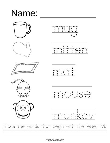 The Letter M Worksheet Trace the Words that Begin with the Letter M Worksheet