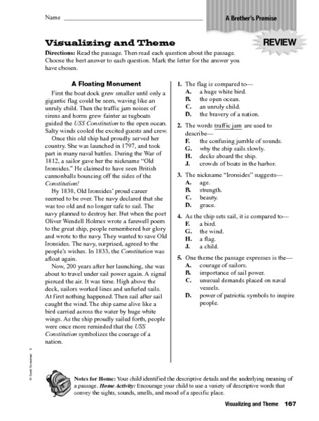 Theme Worksheet Grade 4 Visualizing and theme Worksheet for 4th 6th Grade Lesson