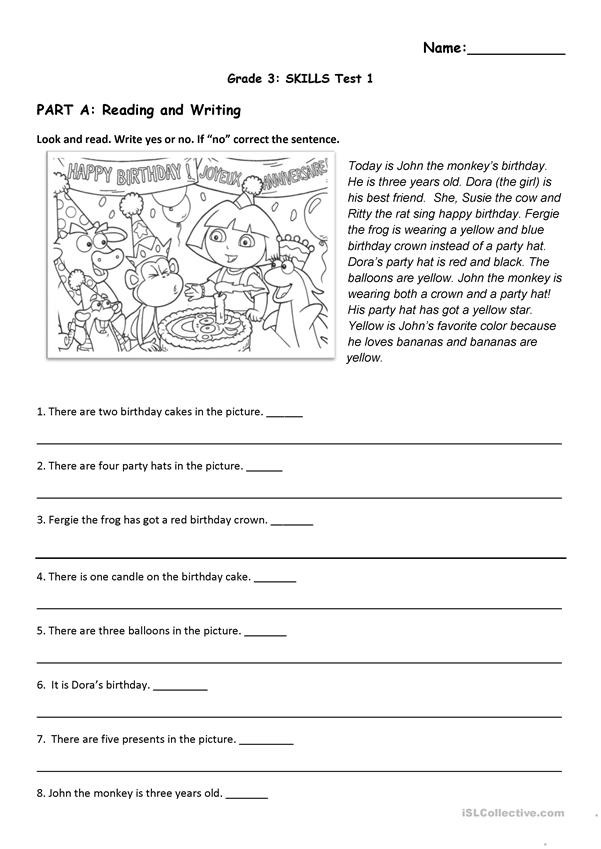 Theme Worksheets Grade 5 Reading and Listening Test Birthday and toys theme