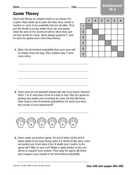 Theoretical Probability Worksheets 7th Grade Game theory Enrichment Worksheet for 7th Grade