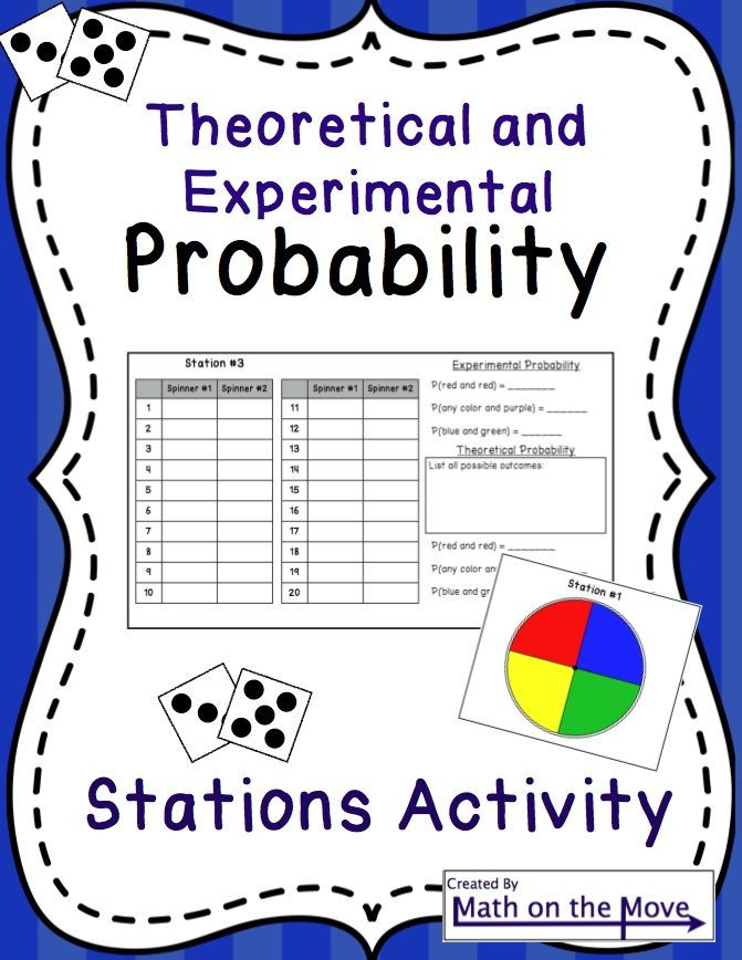 Theoretical Probability Worksheets 7th Grade Probability theoretical and Experimental Stations