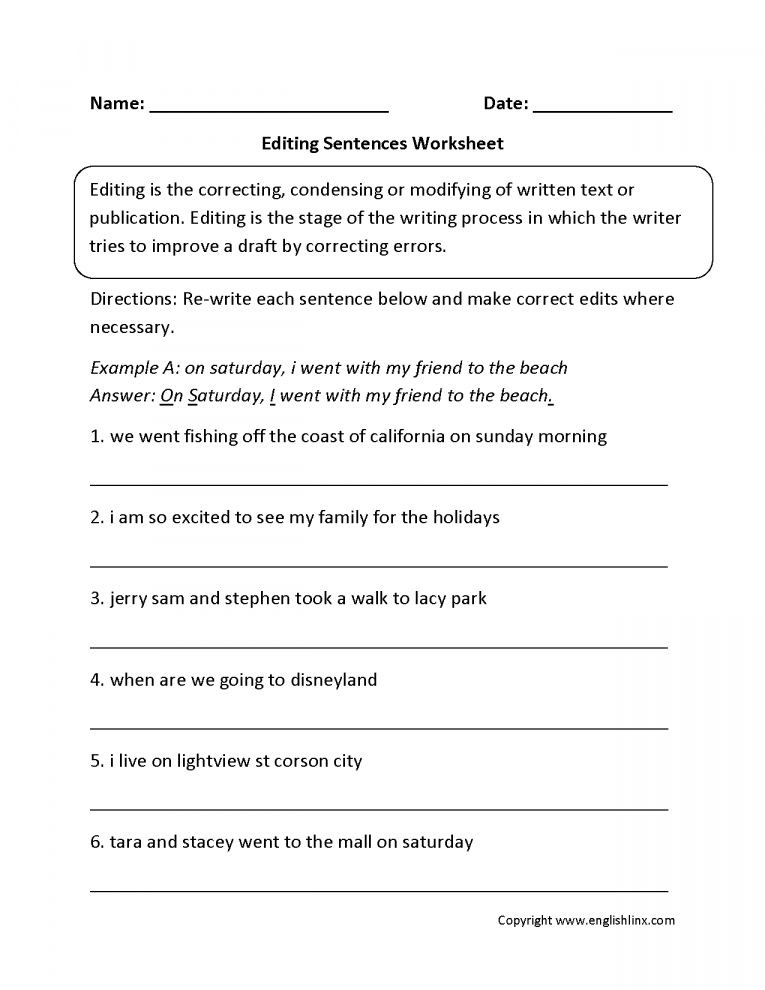 Third Grade Editing Worksheets Pin On 5th Grade Worksheet