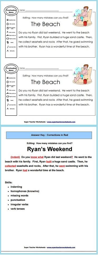 Third Grade Editing Worksheets Practice Proofreading Skills with This Editing Worksheet and