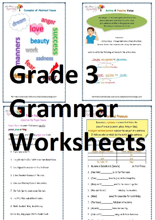 Third Grade Grammar Worksheets Grade 3 English Grammar Worksheets Lets Knowledge