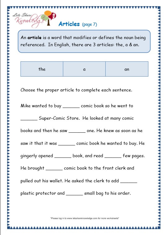Third Grade Grammar Worksheets Grade 3 Grammar topic 34 Articles Worksheets Lets
