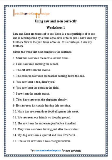 Third Grade Grammar Worksheets Grade Grammar Saw and Seen Printable Worksheets Lets