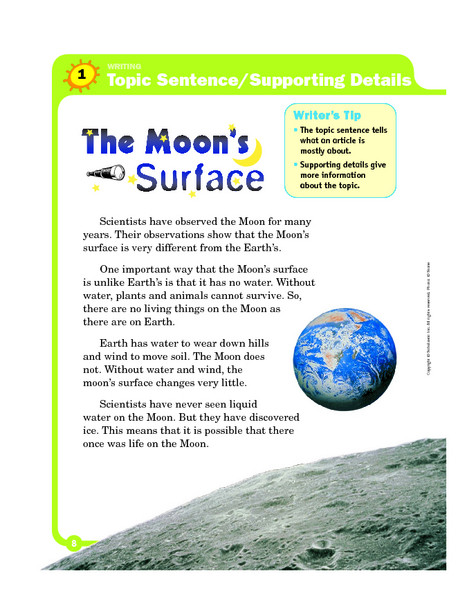 Topic Sentence Worksheet 2nd Grade topic Sentence Supporting Details the Moon S Surface