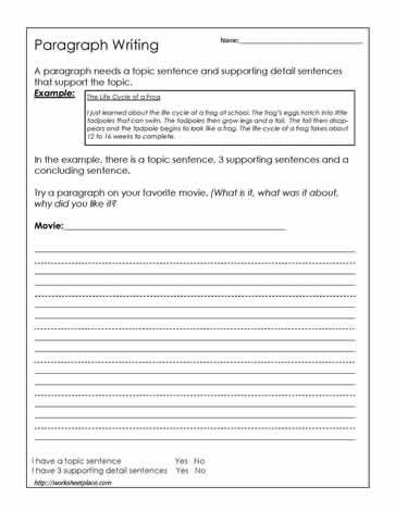 Topic Sentence Worksheets 5th Grade Paragraph Writing Worksheet This Website Has some Good