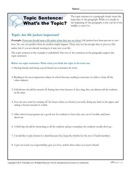Topic Sentence Worksheets 5th Grade topic Sentence What S the topic