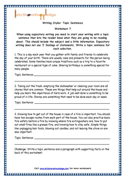 Topic Sentences Worksheets Grade 4 Grade 4 English Resources Printable Worksheets topic