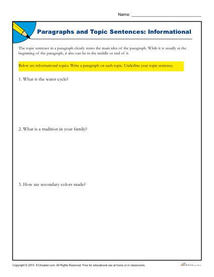 Topic Sentences Worksheets Grade 4 Paragraphs and topic Sentences Informational