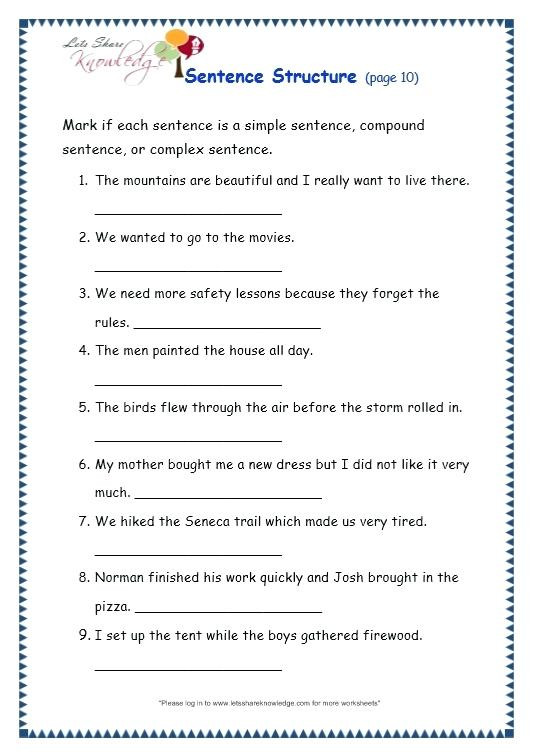 Topic Sentences Worksheets Grade 4 Worksheets On Plex Sentences – Dailycrazynews