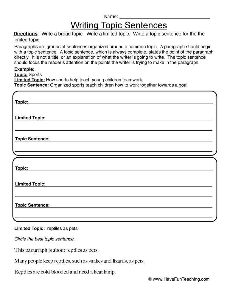 Topic Sentences Worksheets Grade 4 Writing topic Sentences Worksheet