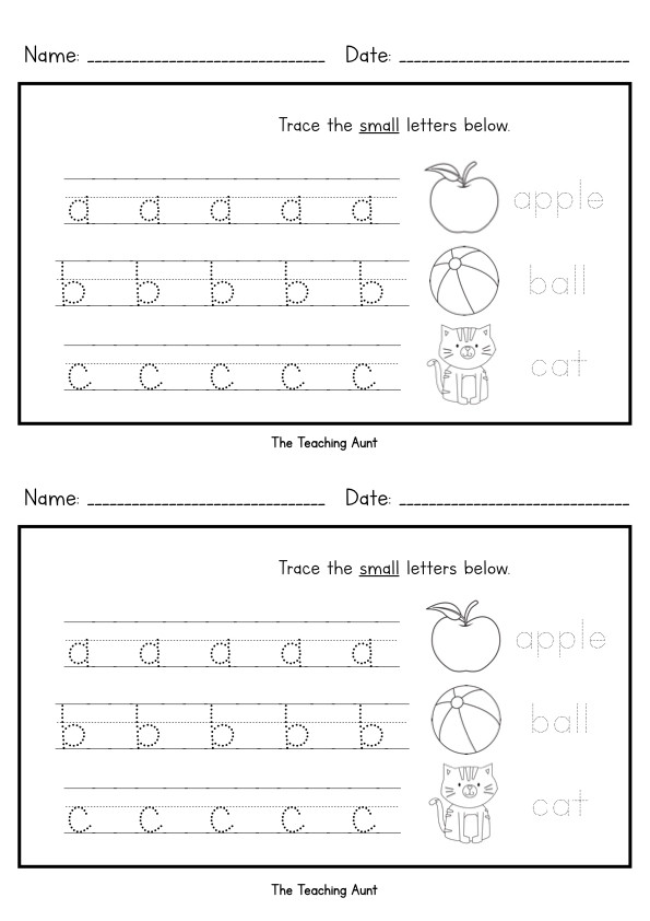 Tracing Lowercase Letters Worksheets Lowercase Letters Tracing Worksheets Set 2 the Teaching Aunt
