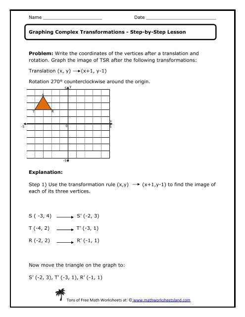 Transformations Math Worksheets Graphing Plex Transformations Lesson Math Worksheets Land