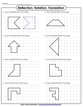 Transformations Math Worksheets Reflection Translation and Rotation Worksheets